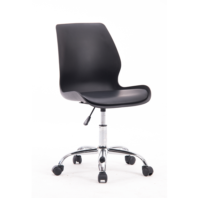 Plastic office chair with cushion pad